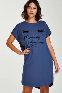 Hunkemöller nachthemd met printopdruk blauw, Blauw