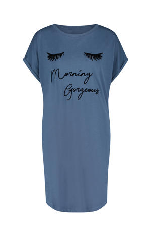 nachthemd met printopdruk blauw