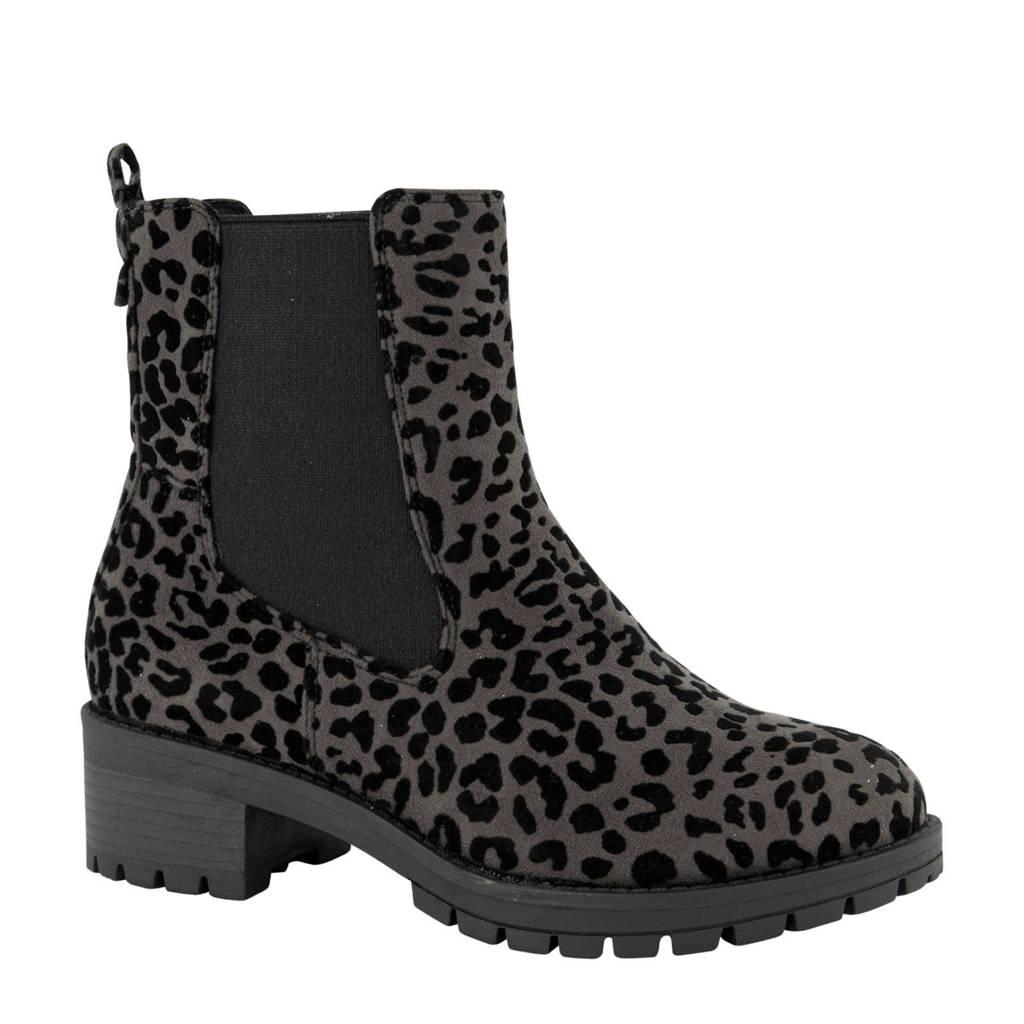 Graceland   chelsea boots panterprint grijs, Grijs/zwart