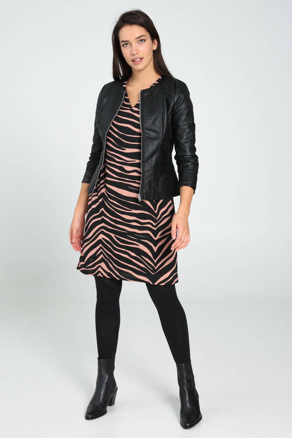 Cassis jurk met zebraprint lichtroze/zwart, Lichtroze/zwart