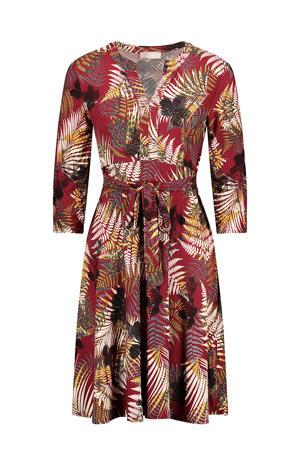 jurk met bladprint en plooien rood/geel/zwart