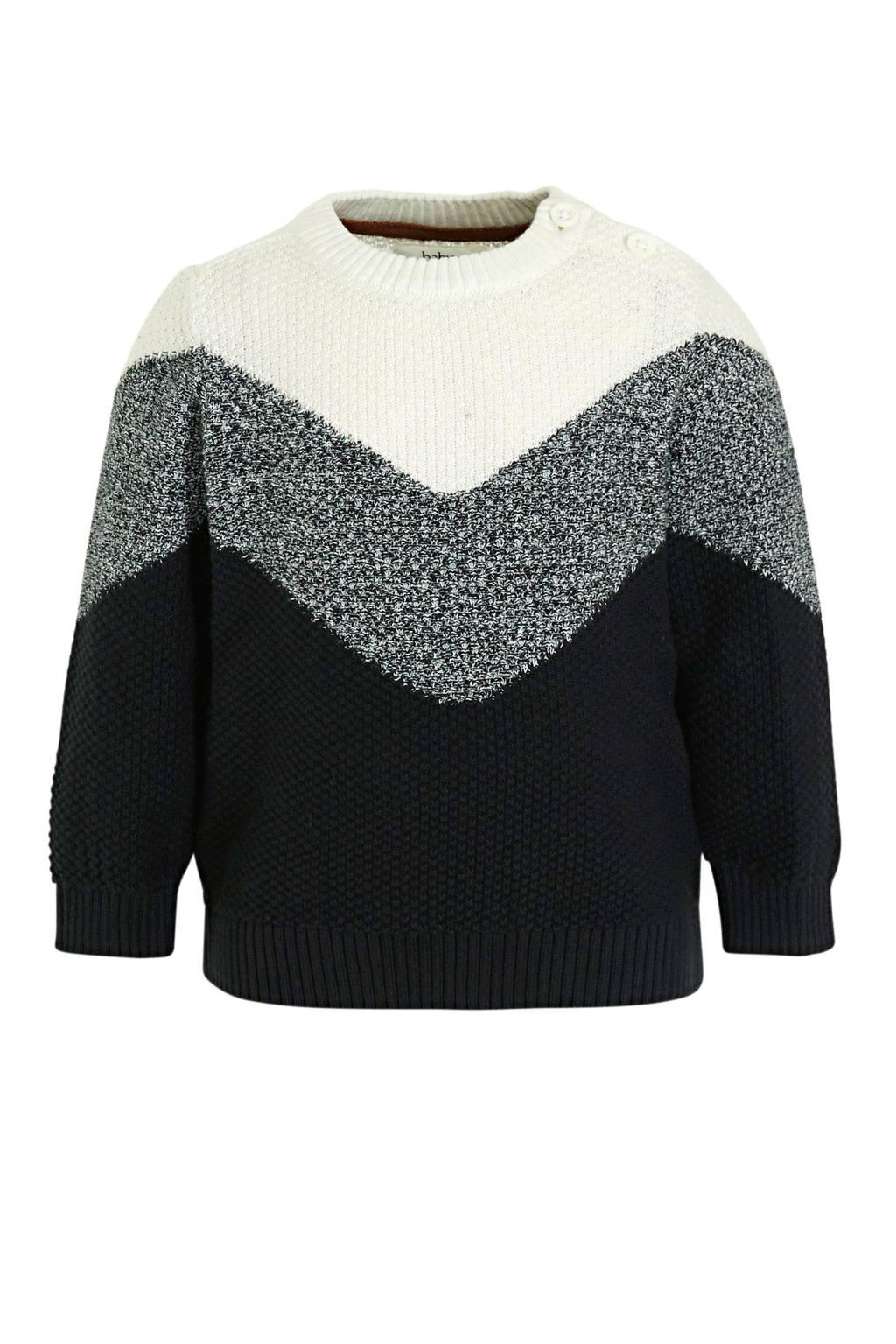 C&A Baby Club baby trui van biologisch katoen ecru/zwart, Ecru/zwart
