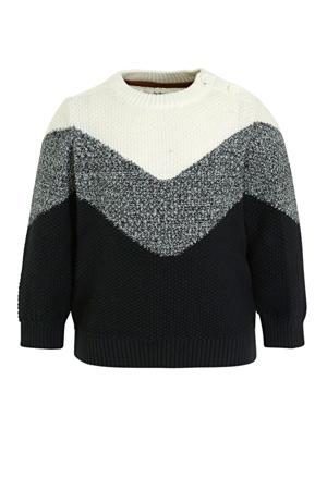 baby trui van biologisch katoen ecru/zwart