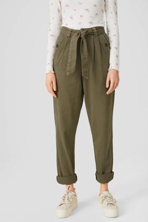 high waist tapered fit broek olijfgroen