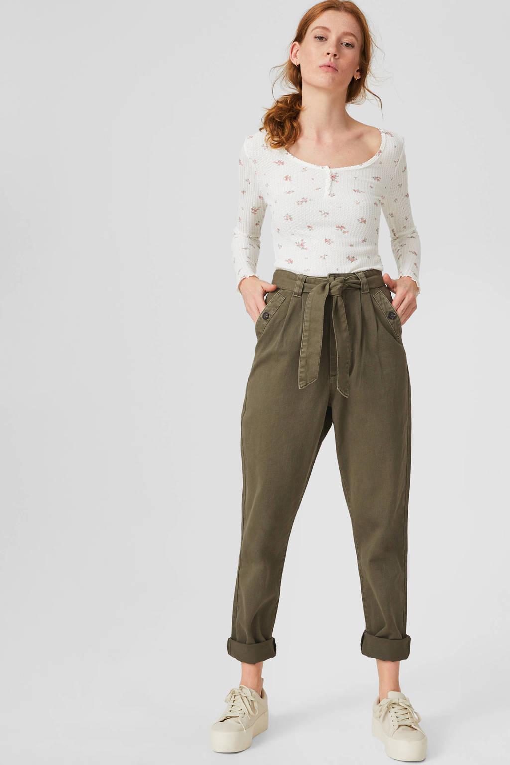 C&A Clockhouse high waist tapered fit broek olijfgroen, Olijfgroen