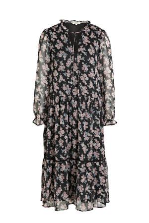 maxi jurk met all over bloemenprint zwart/lichtroze/blauw