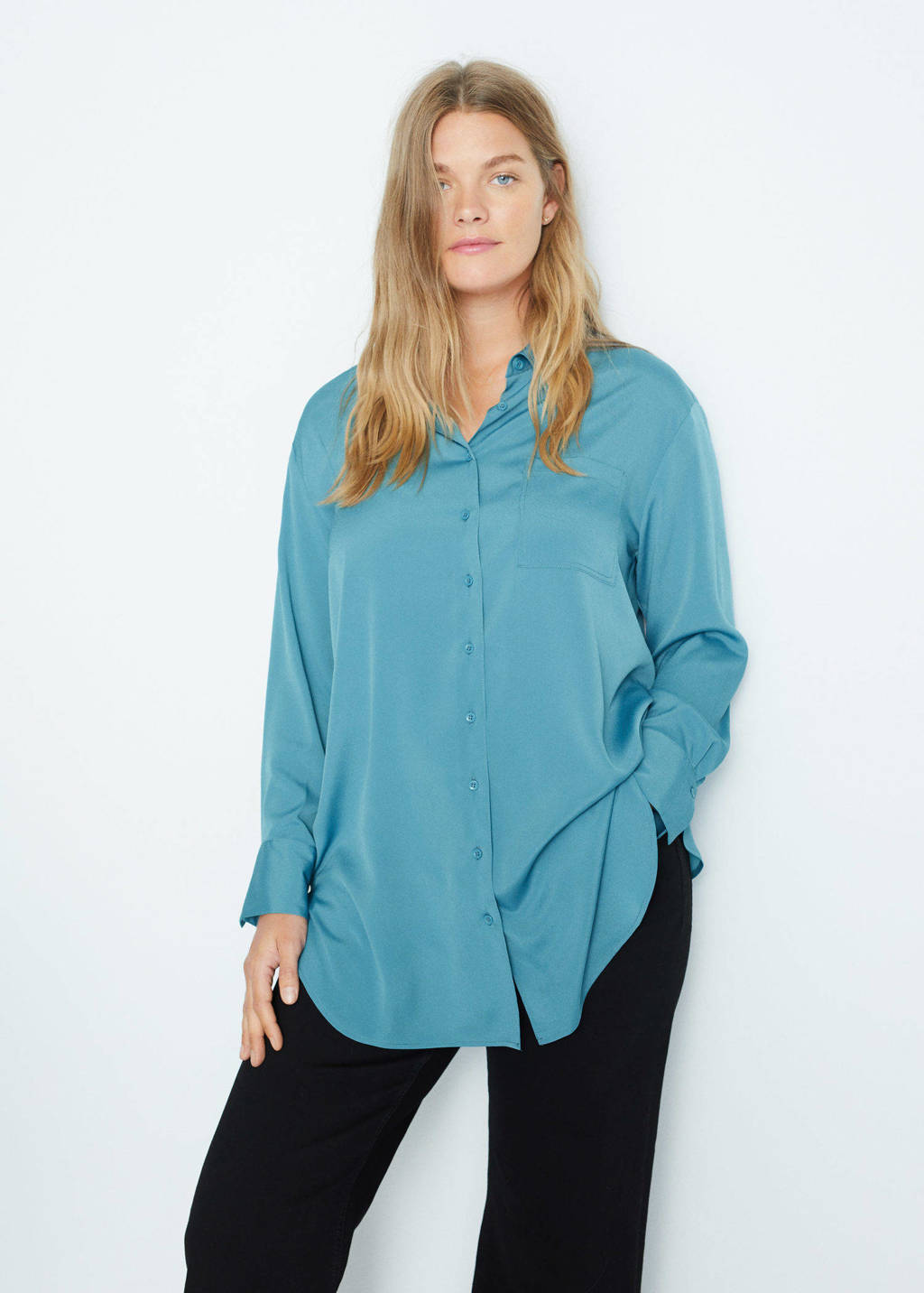 Violeta by Mango blouse van gerecycled polyester donkerblauw, Donkerblauw