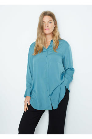 blouse van gerecycled polyester donkerblauw