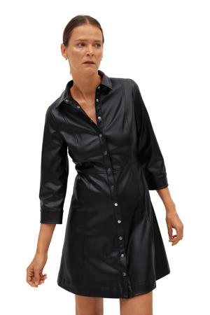 imitatieleren blousejurk zwart