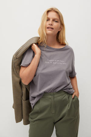 T-shirt met printopdruk grijs