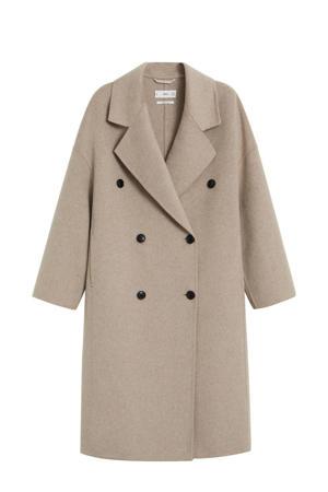 coat met wol grijs