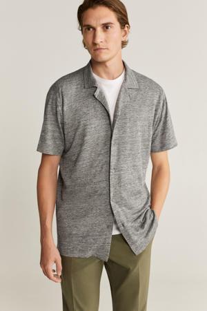 gemêleerd regular fit overhemd grijs