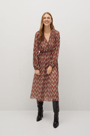 jurk met all over print rood