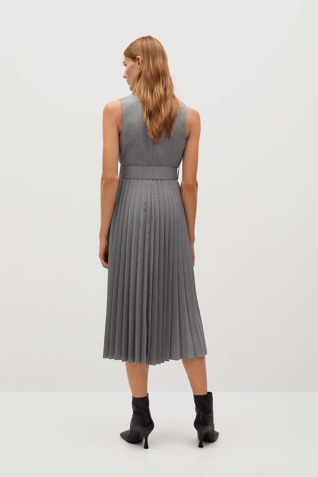 Mango jurk met ceintuur grijs, Grijs