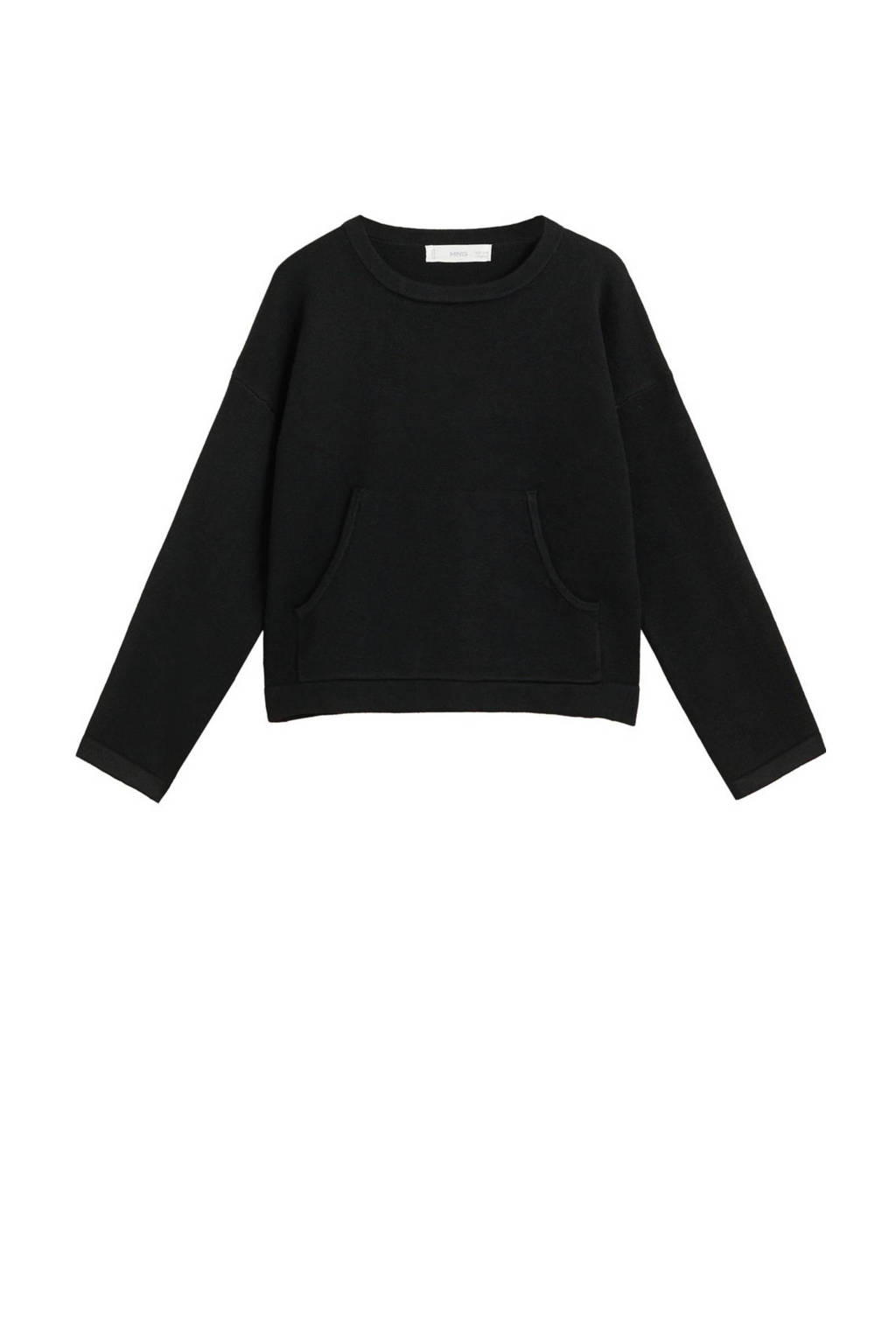 Mango Kids fijngebreide trui zwart, Zwart