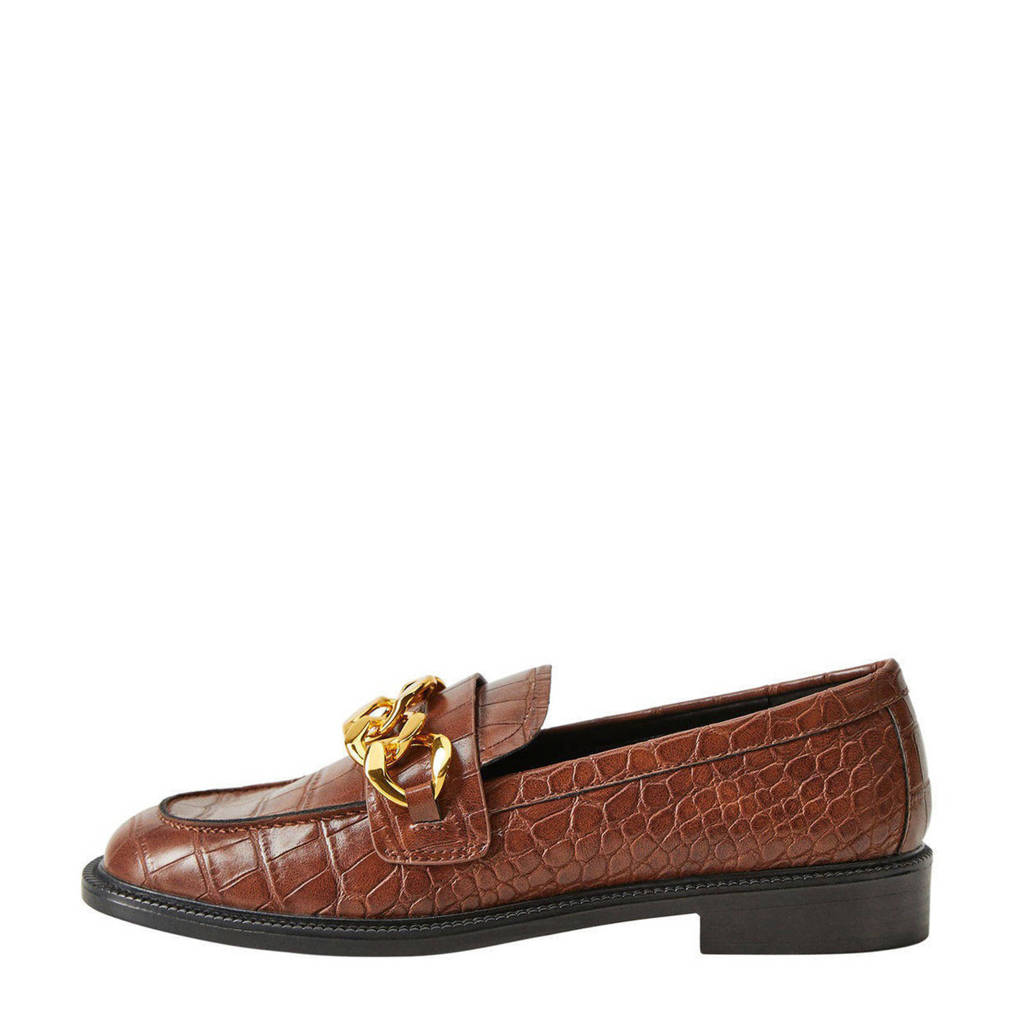 Mango   loafers met crocoprint cognac, Cognac