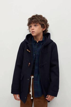 houtje-touwtje winterjas met wol donkerblauw