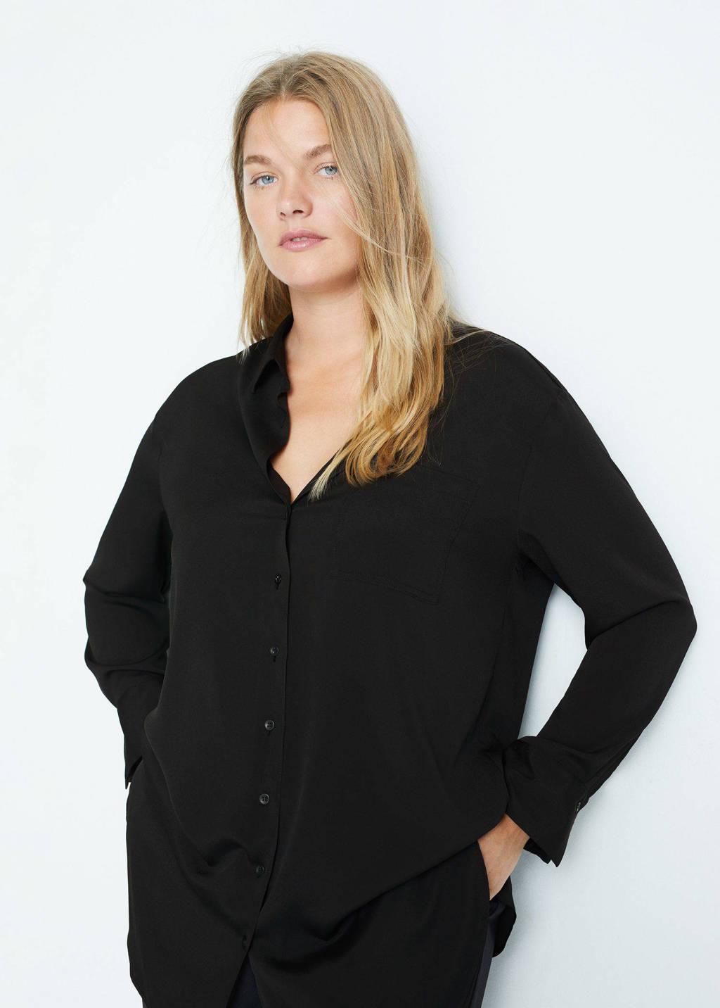 Violeta by Mango blouse van gerecycled polyester zwart, Zwart