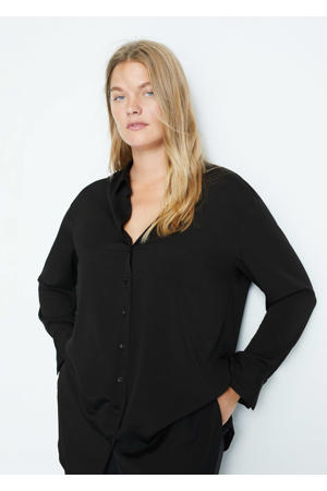 blouse van gerecycled polyester zwart