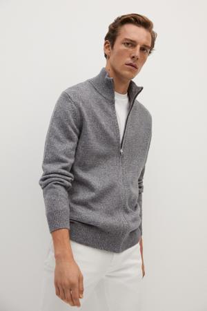 gemêleerd vest met wol grijs