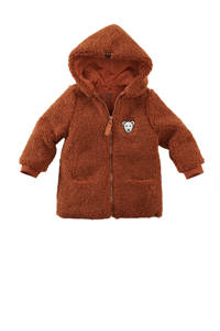 Z8 teddy tussenjas Perth met printopdruk bruin, Bruin