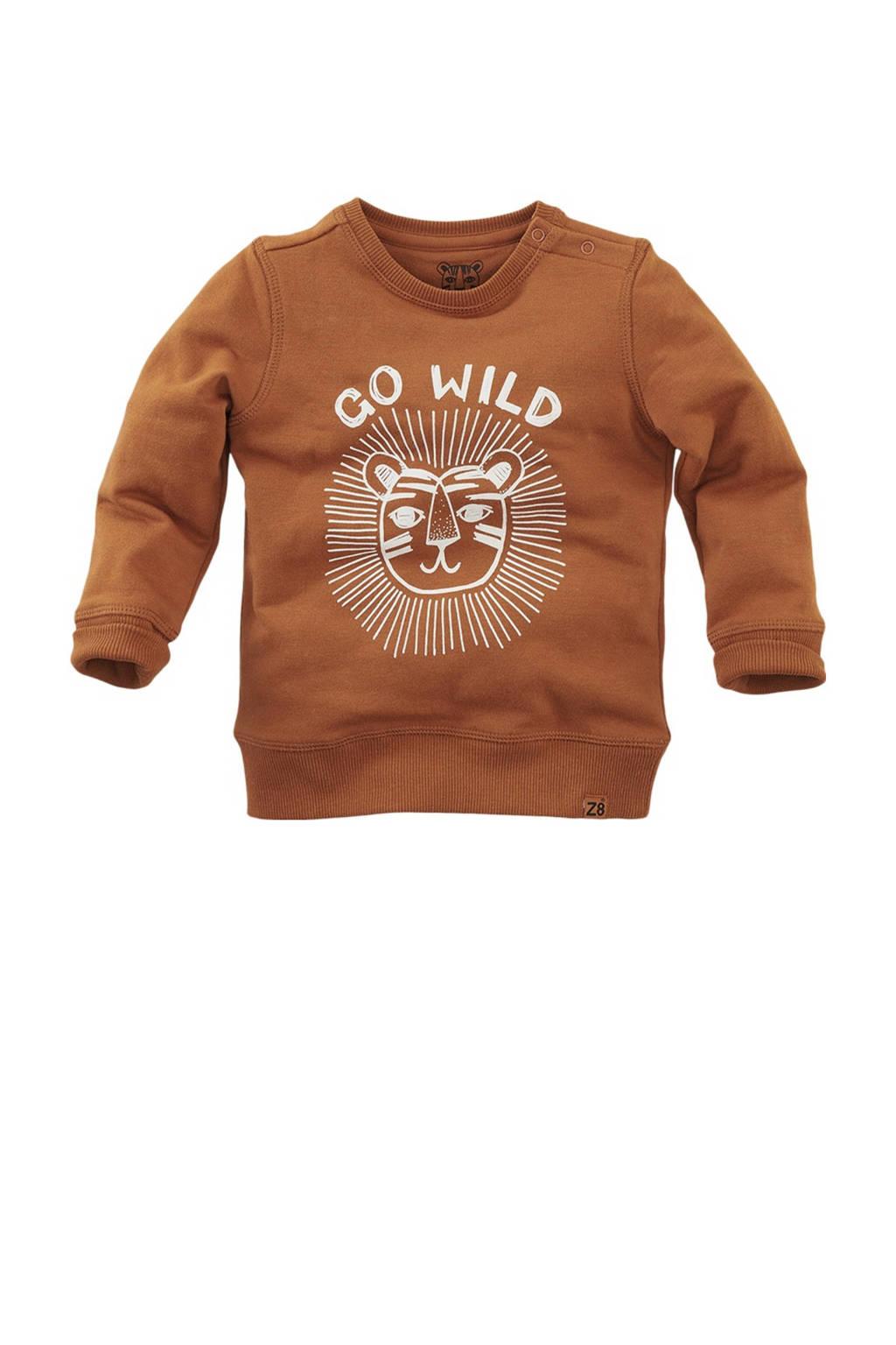 Z8 sweater Rockhampton met printopdruk bruin/wit, Bruin/wit