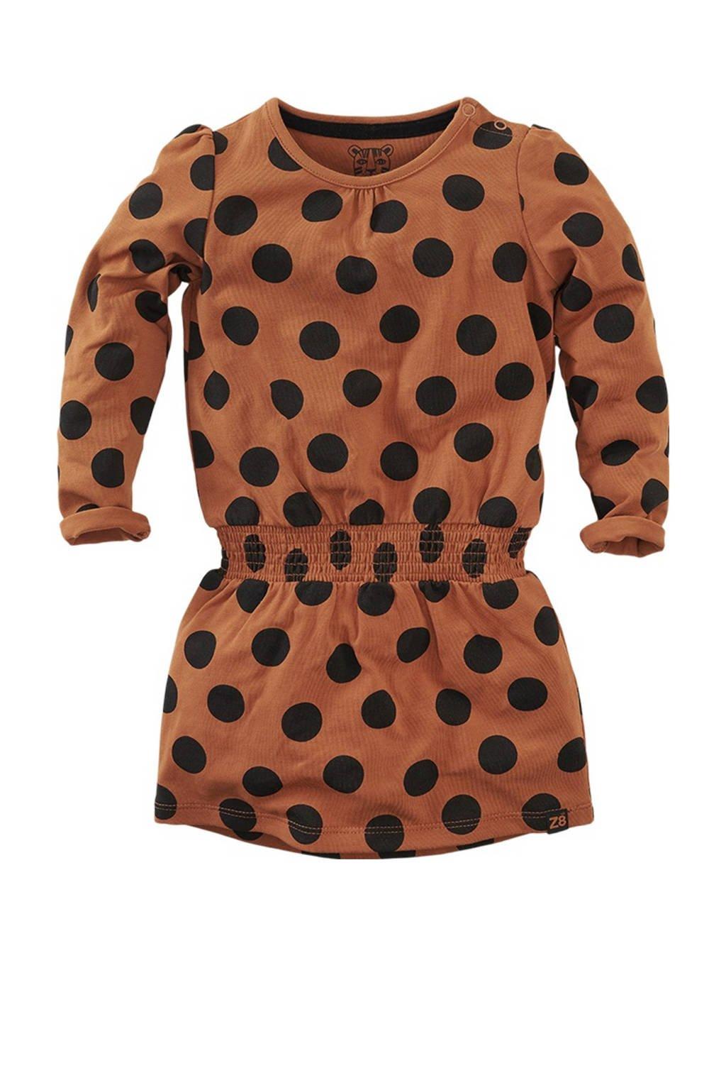 Z8 jurk Caloundra met stippen en plooien roestbruin/zwart, Roestbruin/zwart