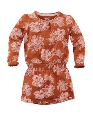 jurk Katherine met all over print roestbruin/lichtroze