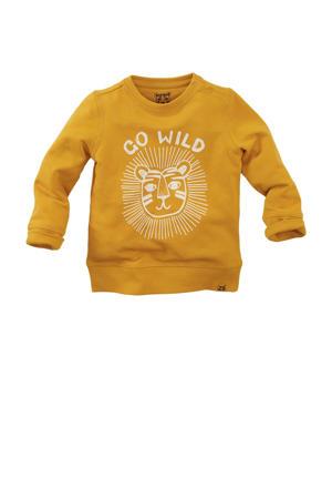 sweater Rockhampton met printopdruk okergeel/wit