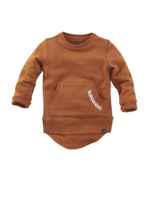 sweater Hobart met tekst roestbruin/wit