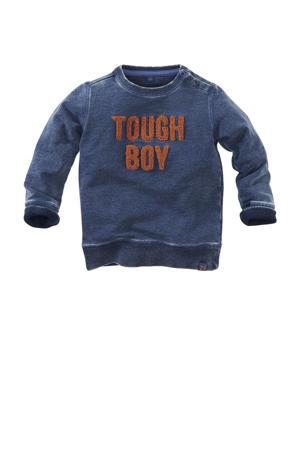 sweater Brisbane met tekst en 3D applicatie donkerblauw/bruin