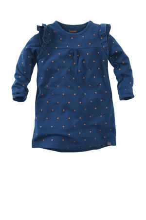 jurk Gold coast met stippen en ruches donkerblauw/donker oranje