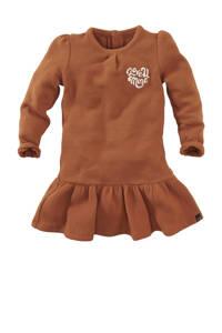 Z8 jurk Maitland met tekst en borduursels roestbruin/ecru, Roestbruin/ecru