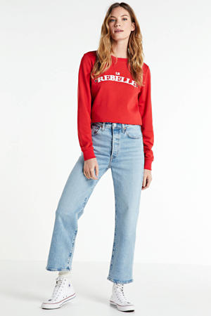 Ribcage cropped high waist straight fit jeans light denim