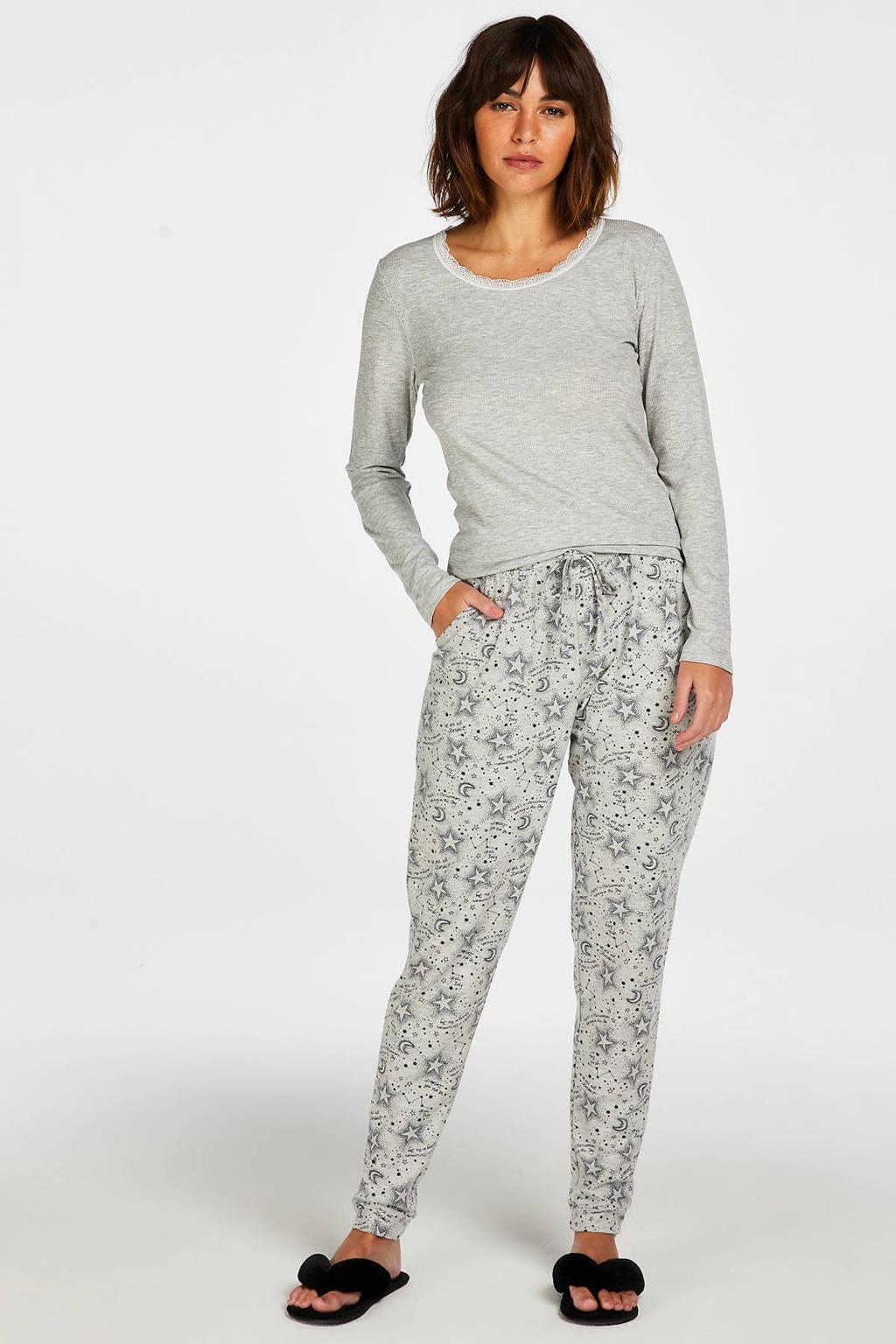 Hunkemöller pyjamabroek met all over print grijs, Grijs