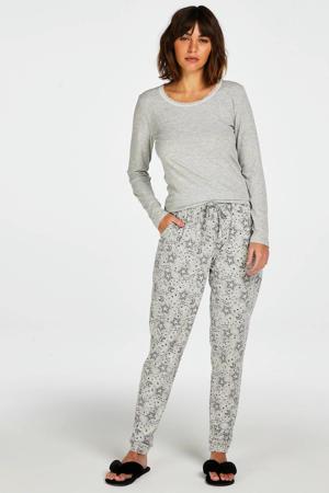 pyjamabroek met all over print grijs