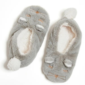 pantoffels Cat van imitatiebont grijs