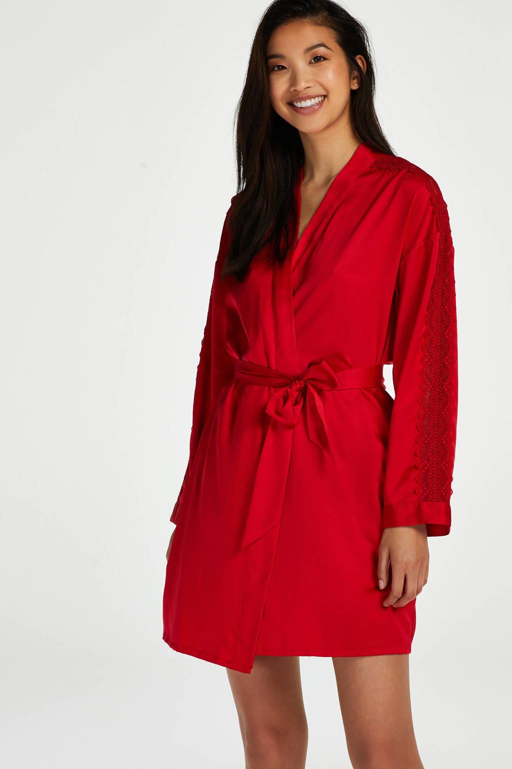 Hunkemöller satijnlook kimono rood, Rood