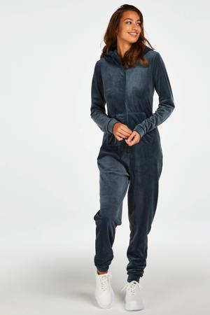 velours onesie met capuchon donkerblauw