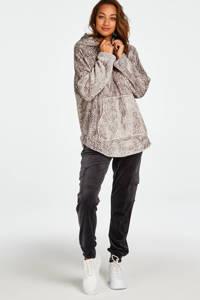 Hunkemöller fleece loungetop met capuchon en visgraat print grijs, Grijs