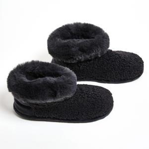 pantoffels Teddy met imitatiebont donkergrijs