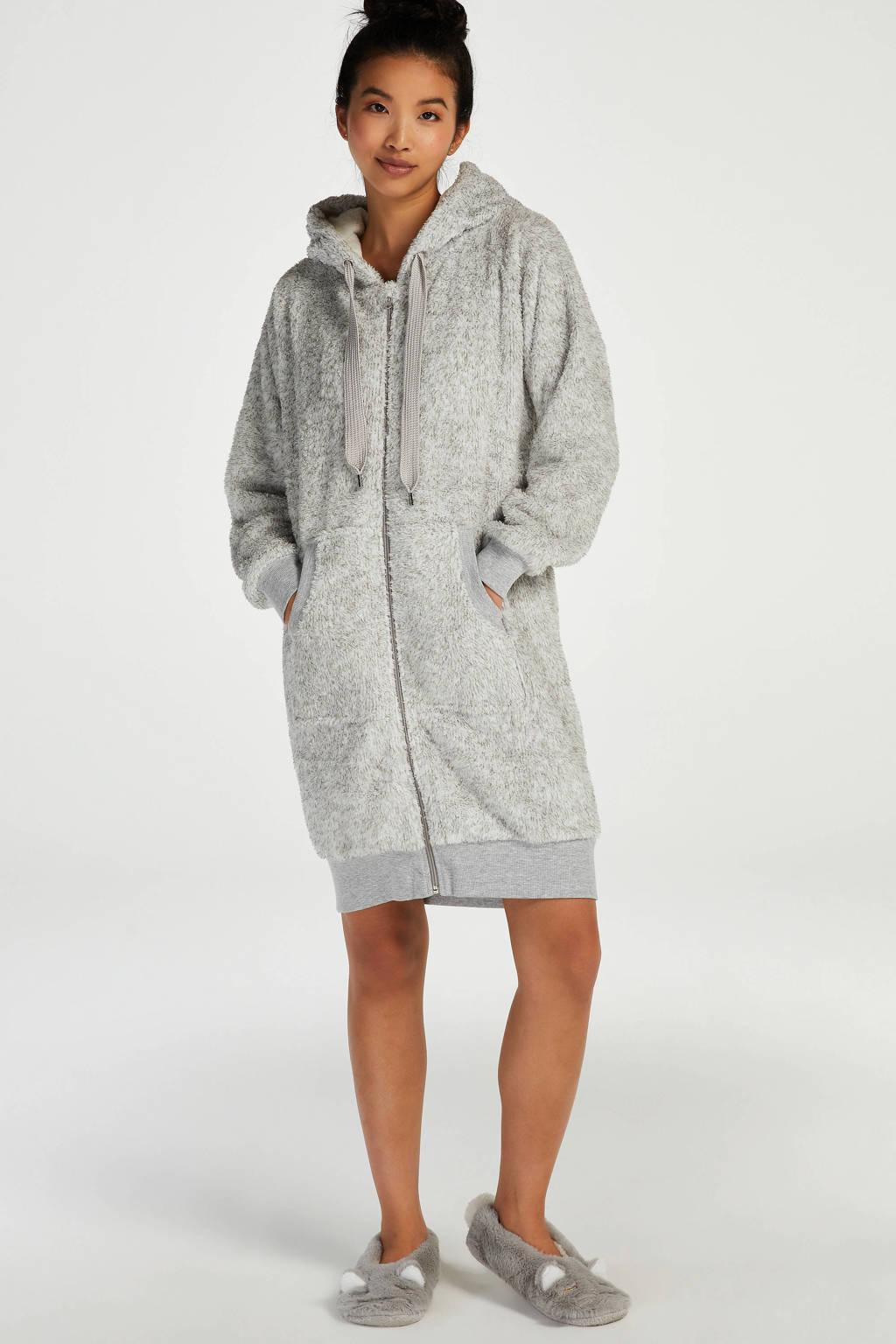 Hunkemöller fleece badjas met ritssluiting oudroze, Grijs