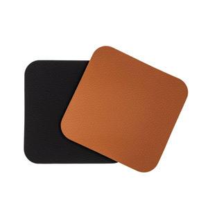 Onderzetters Leer Zwart Cognac 10x10 cm) (set van 6)