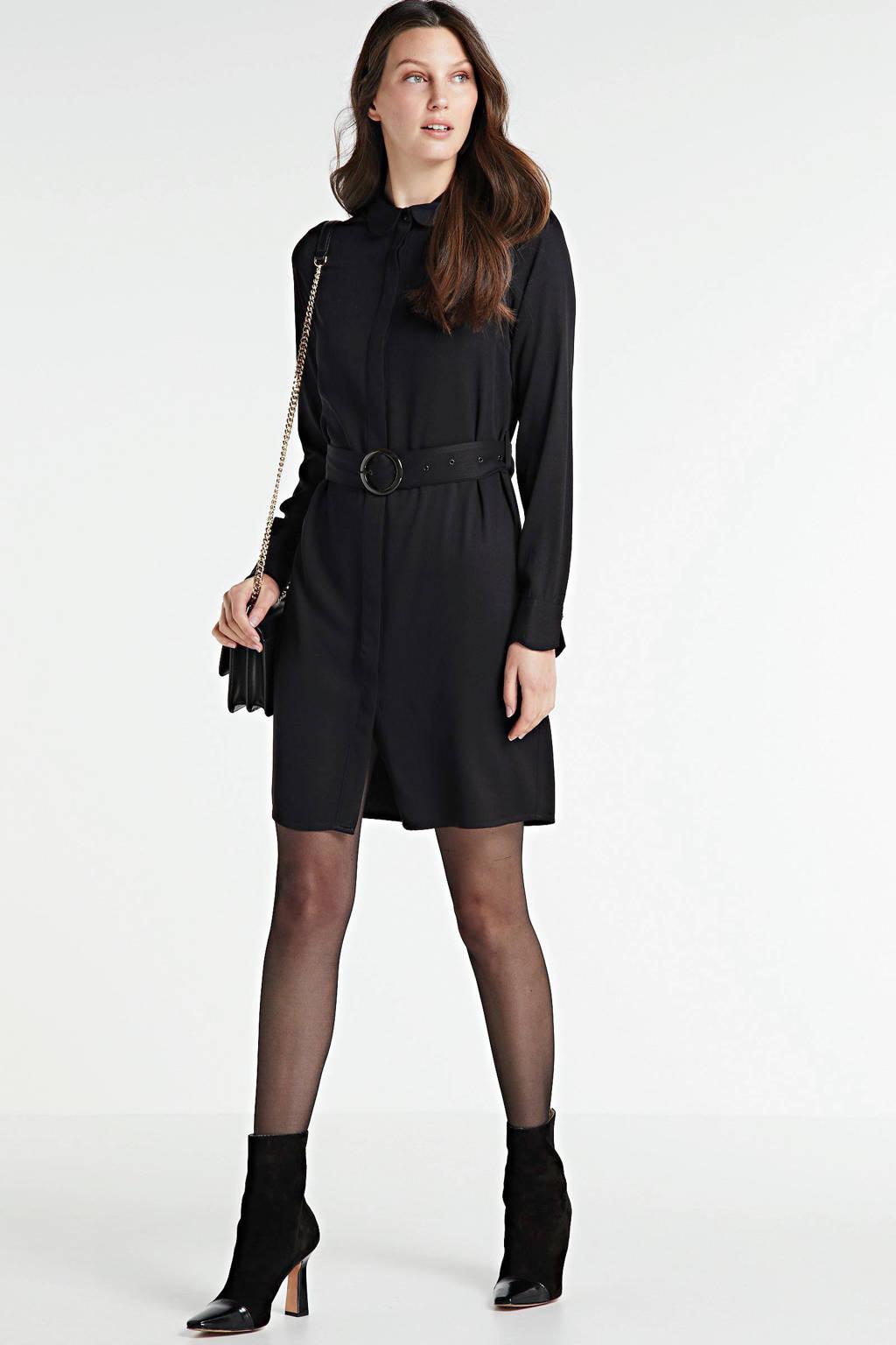 Another-Label jurk Peri met ceintuur zwart, Zwart