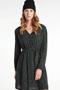 Another-Label jurk Deolin met panterprint en ceintuur donkergroen/ oranje, Donkergroen/ oranje