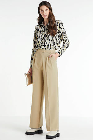 high waist straight fit broek Moore beige