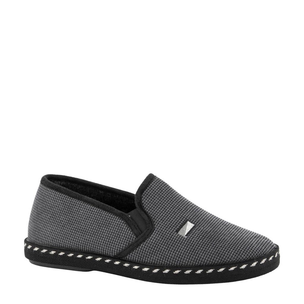 Casa mia geruite pantoffels grijs, Grijs