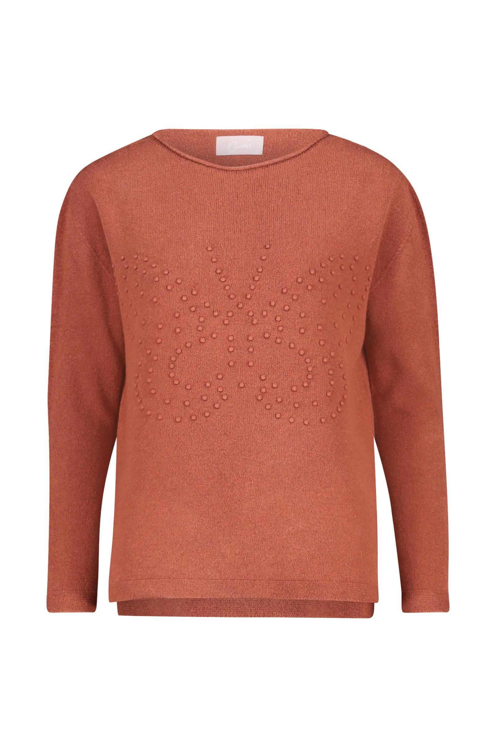 Cassis fijngebreide trui met 3D applicatie donker oranje