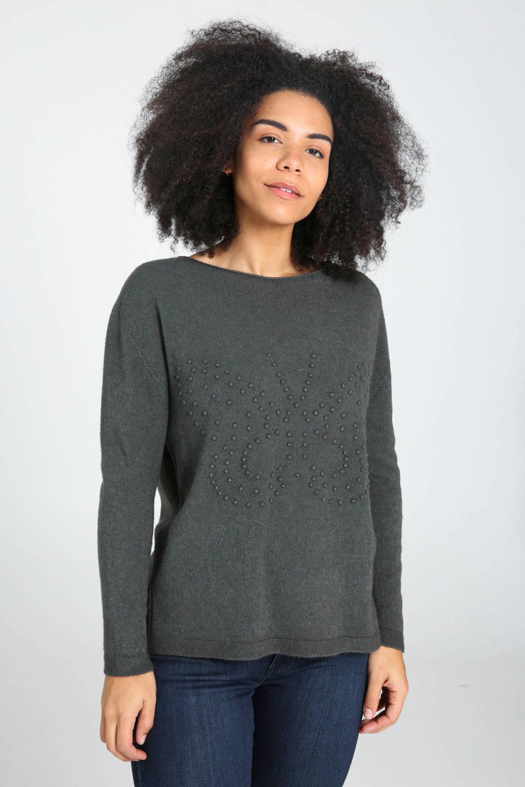 Cassis fijngebreide trui met textuur kaki, Kaki