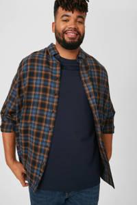 C&A XL geruit regular fit overhemd bruin/blauw, Bruin/blauw